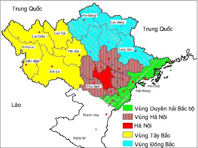 bản đồ phân vùng miền bắc