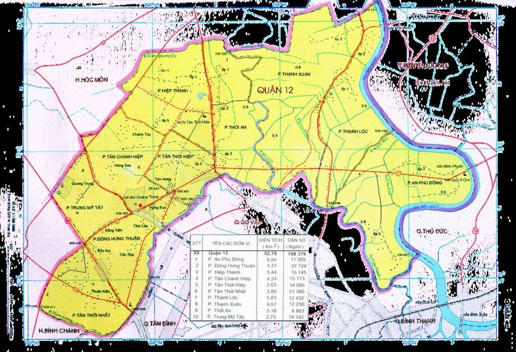 Bản đồ các phường quận 12