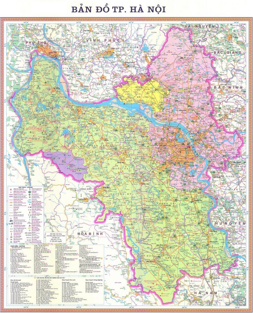 bản đồ hành chính thủ đô hà nội