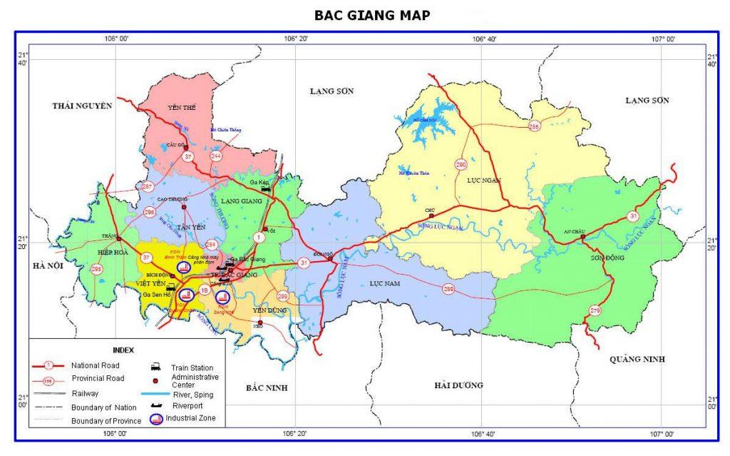 Bản đồ hành chính tỉnh Bắc Giang
